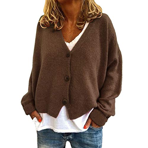 Cardigans Women Long Sleeve Button Down Knitted Sweaters V Neck Solid Color Classic Cardigan Lightweight Warm Autumn Winter Casual Sweaters Loose Comfy Tops Work Date Outdoor Wear S