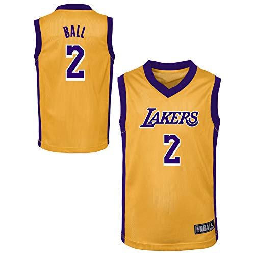 Outerstuff NBA Toddler Team Color Player Name & Number Replica Road Jersey (4T, Lonzo Ball Los Angeles Lakers)