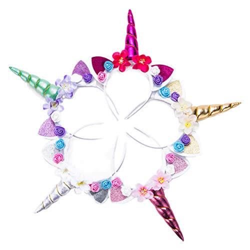 Toyvian Einhorn Haarreif Ohren Stirnband Haarband mit Blumen Kopfschmuck für Kinder Mädchen Ostern Kostüm Party Dekoration 5 Stücke (Mischfarbe)