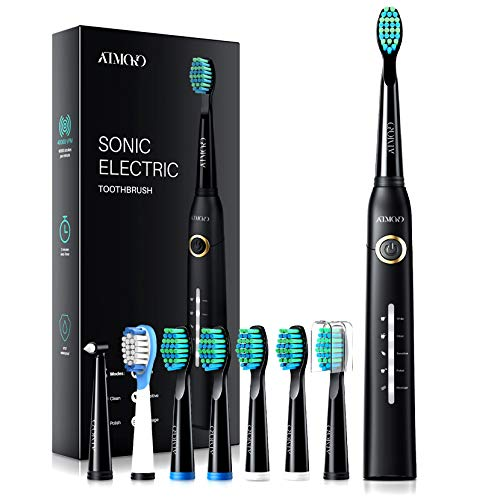 ATMOKO Electric Toothbrushes for Adults with 8 Duponts Brush Heads, 5 Modes, 4 Hour Charge for 30 Days Use, 40,000 VPM Motor, Rechargeble Power Whitening Sonic ToothbrushHP26A, Black, 1 Count