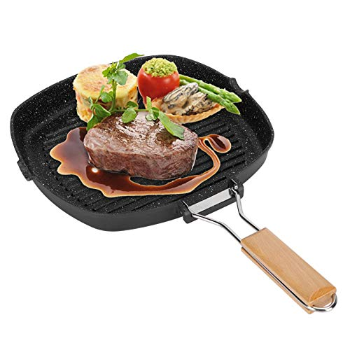 Sartén Práctica Antiadherente de Aluminio Fundido de Primera Calidad Sartén para Carne BBQ con Mango Plegable Suministros de Cocina para Placas de Gas, Inducción Y Eléctricas con Mango Plegable(28CM)