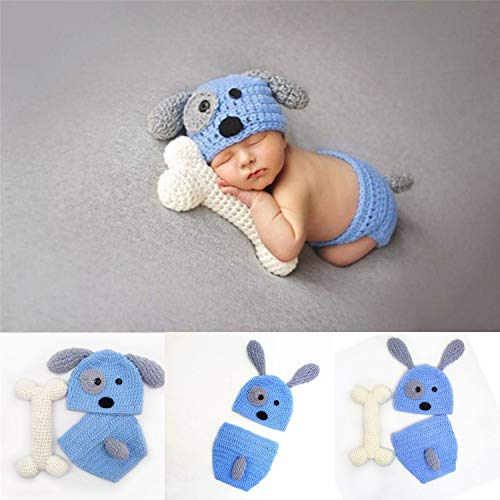 Newborn Baby Girl Boy Photo Props Outfits Crochet Knitted Blue Dog Hat Shorts with Bone Set for Boys Girls Photography Shoot (0-6 Months)