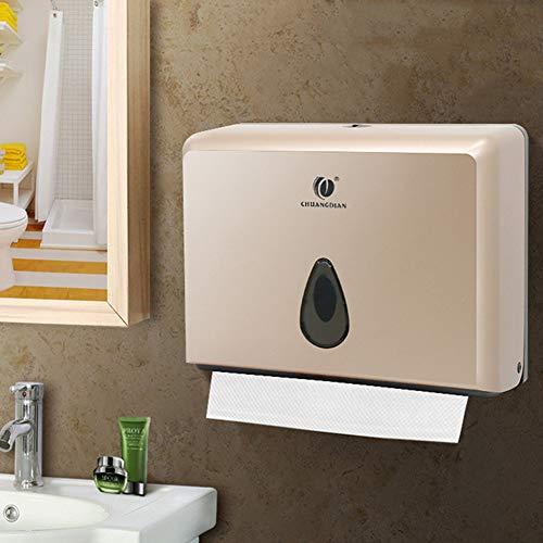 Papierhandtuchspender Wandmontage Papierhandtuchhalter Abschließbar Handtuchspender mit Schlüssel Papiertuchspender für Toilette Baderzimmer 200 Blätter Champagner
