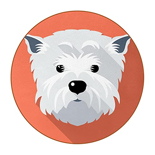 White dog, Super Fiber Leather Drinks Coaster Durable Set of 6 Round Coaster for Living Room Kitchen Bar Decor
