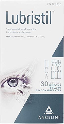 Lubristil Unidosis - Lágrima artificial con Ácido Hialurónico. Propiedades lubricantes, hidratantes y viscoelásticas. En todos los casos de molestias oculares. Sin conservantes. 30 unidosis 0,3 ml.