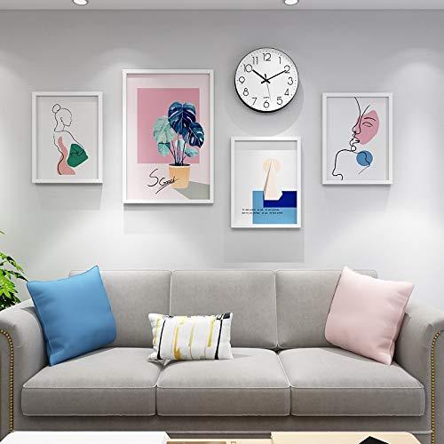 Anyi 7 Pulgadas Foto Marco Combinado Madera sólido Simple Moderno Creativo Sala de Estar Comedor sofá decoración Fondo Pared Pinturas Colgando Pinturas,Blanco