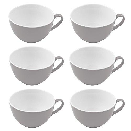 Flirt by R&B 576887 Doppio Kaffee-Obere/Kaffeetasse 180 ml, Porzellan, grau (6er Pack)