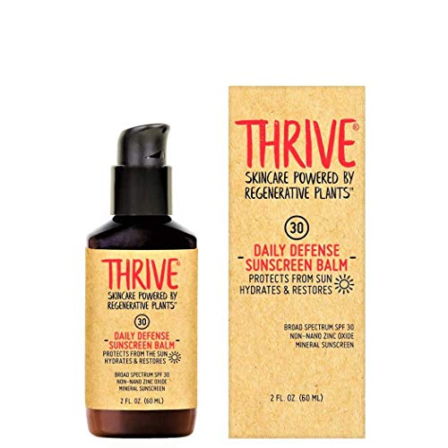THRIVE Natural Moisturizing Mineral Face Sunscreen SPF 30, 2 Ounces – Lightweight Moisturizer Broad-Spectrum Matte Natural Face Sunblock with Clear Zinc Oxide & Antioxidants – Vegan, Made in USA & Non Greasy (Packaging May Vary)