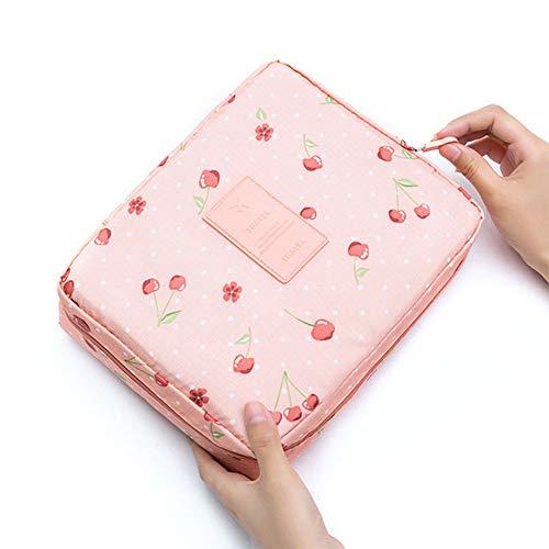 Redcolourful Sac de maquillage professionnel portable Sac cosmétique Sac de rangement Poignée Organiseur Sac de voyage Pink Cherry.