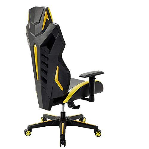 JIEER-C slaapkamer racing gamingstoel, gamingstoel, hoge rugleuning, liggend kuipstoel, bureaustoel, instelbare vergrendeling, PU-leer, draaistoel (kleur: rood) geel