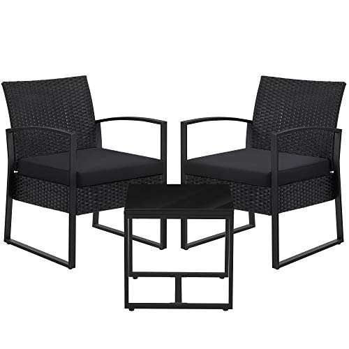 SONGMICS 3-Piece Patio Set Outdoor Patio Furniture Sets, PE Rattan, Outdoor Seating for Bistro Front Porch Balcony, Easy to Assemble, 2 Chairs and 1 Table, Black UGGF010B01