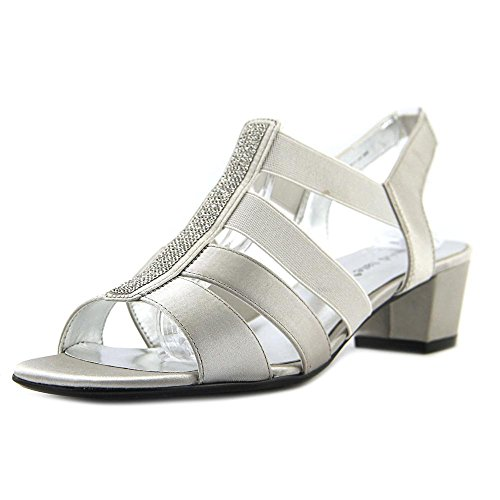 David Tate Women's Eve Jeweled Sandal,Silver Satin,US 13 M