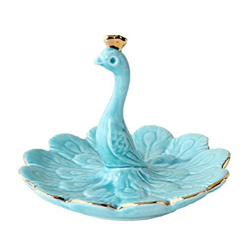 Bandeja de joyería de cerámica, bandeja de almacenamiento de joyería de diseño de pavo real azul, utilizado para joyería, pendientes, soporte de anillo, regalo de cumpleaños de la madre para mujer