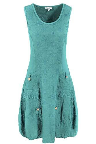 PEKIVESSA Leinenkleid Damen mit Stickerei Sommer Knielang Grün 38 (Herstellergröße M)