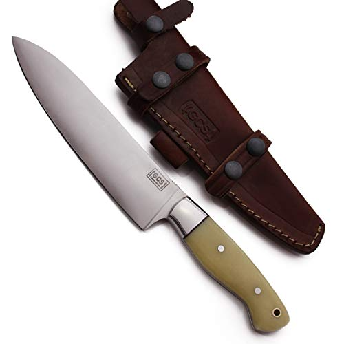 GCS Custom Handmade CHEF knife Bone Handle D2 Tool Steel Buffalo Hide Sheath GCS 132