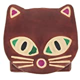 KARL LOVEN Porte-Monnaie Femme Fille en Cuir Véritable Marron modèle Chat Retro Fermoir à Pression Etui Compartiment Simple + Porte- Carte de crédit RFID