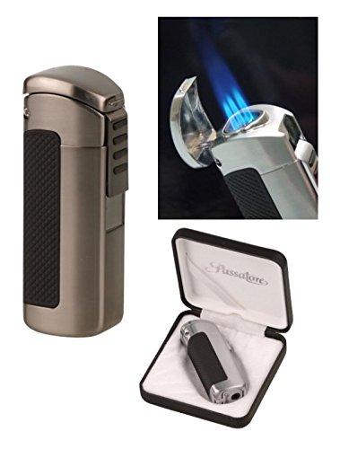 Lifestyle-Ambiente Passatore Zigarren Feuerzeug Gun-Satin 3fach Jetflamme mit Zigarrenbohrer inkl Tastingbogen