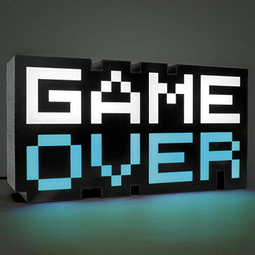Paladone 8-Bit Pixel Game Over Light – Color Changing Sound Reactive Collectible Decor Lamp