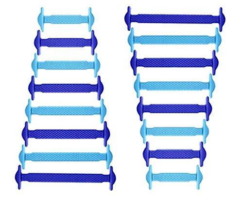 RECKNEY Lacci per scarpe senza nodo per bambini e adulti, in silicone, piatti, per scarpe da ginnastica, elastici, facili da inserire(Blue Reale/Cielo blue)
