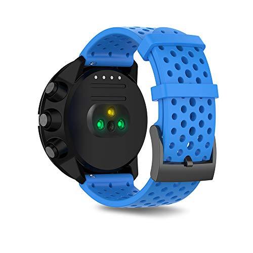 Ficocean Bracelet Compatible pour Suunto 9, Bande de Remplacement en Silicone Poignet Sangle en Sports Bande en Montre pour Suunto9 /Suunto Spartan Sport Wrist HR Baro (Bleu, L)