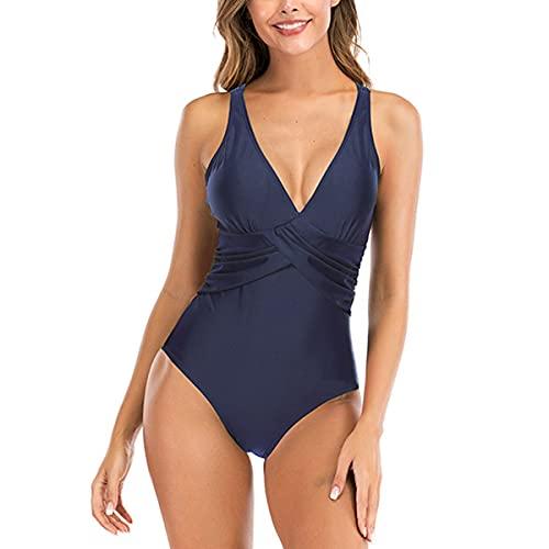 SEDEX Costume Intero Donna Push Up Monokini Sexy Costume da Bagno Donna Beachwear dello Swimwear Imbottito da Spiaggia Mare e Piscina Push up Swimsuit (Blu, 42-44)