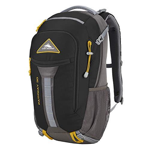 High Sierra Pathway Internal Frame Hiking Backpack, Black/Slate/Gold, 30L