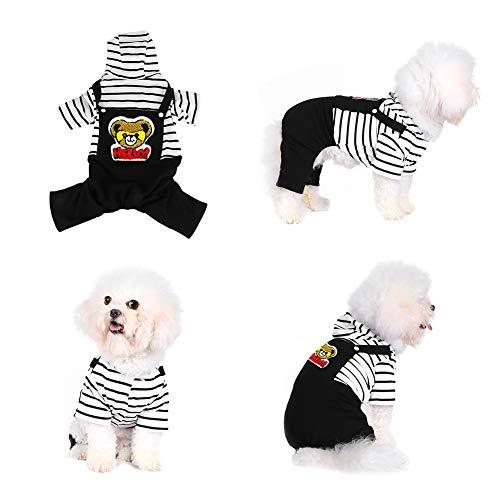 Pssopp Hond Kat Hoodie Jumpsuit Zwart-Wit Gestreept Katoen Puppy Rompers Zachte Warm Huisdier Jumpsuits Gezellige Kostuum Kleding voor Kleine Honden en Katten, XS, Kleur: wit