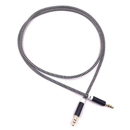 Mingtongli Aleación Coche AUX Cable estéreo de 3,5 mm de Audio Auxiliar línea Trenzada de 1 Metro núcleo de Cobre de Alambre Tejido