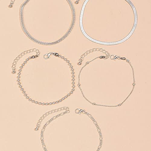 Tobillera pulsera 5 piezas de articulaciones de tobillo de serpiente de cadena de cuentas de múltiples capas para mujeres sandalias de tobillo desnudo, pulseras, pies de senderismo, regalos de joyería