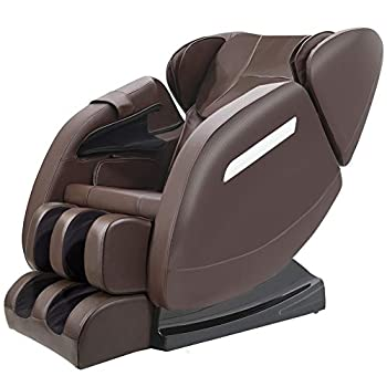 SMAGREHO Massage Chair Recliner with Zero Gravity Full Body Air Pressure Bluetooth Heat and Foot Roller Included Brown