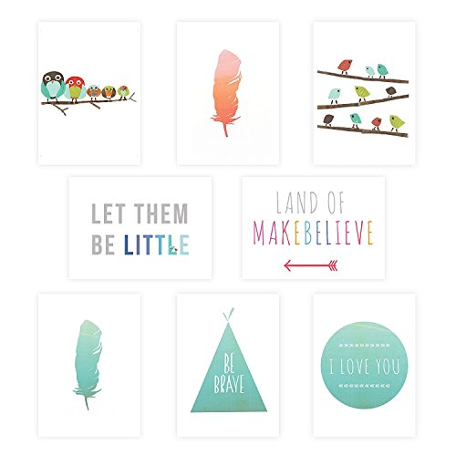 Boho Mini Collection Wall Card Prints, 5 x 7 Inches, Nursery Wall Art Decor, Kid's Art Decor, Gender Neutral Nursery, Nature Themed