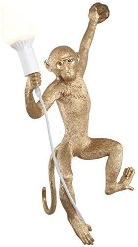 GYYlucky wandlamp aap links moderne hars wandlamp bedlampje creatief in witgoud en zwart