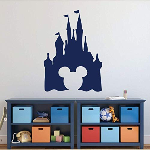 Amazon Com Castle Silhouette Wall Decal Peel And Stick Vinyl Sticker With Mickey Mouse Shaped Cutout For Nursery Playroom Kids Bedroom Choose From Purple Pink Blue Black White And Other Colors