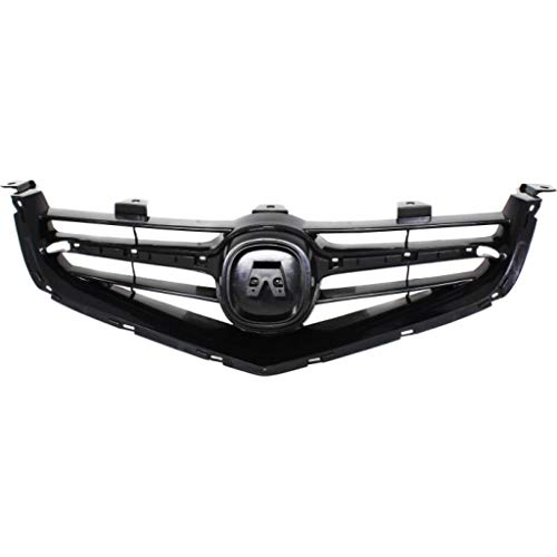 For Acura TSX Grille Assembly 2004 2005 | Painted Black Shell & Insert Plastic | AC1200110 | 71121SECA01ZA