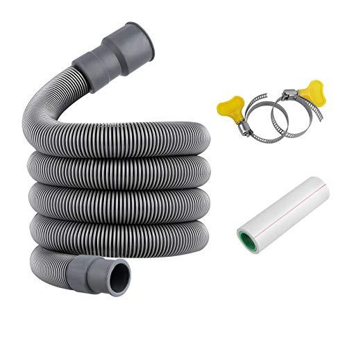 Manguera de desagüe de 2 m para lavadoras, manguera de desagüe alargadora para lavadoras, secadoras y lavavajillas
