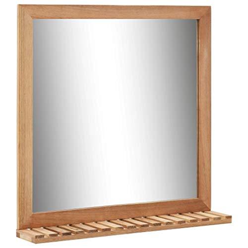 vidaXL Bois de Noyer Massif Miroir de Salle de Bain Miroir Mural Miroir avec Etagère et Cadre Maison Intérieur Toilette Salle d'eau