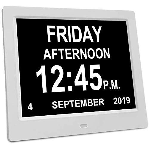 Slyabz 12 Optionen Alarme Uhr, Auto Nacht Dimming Display- Gedächtnis-Verlust-Tag Taktgeber-Digital-Kalender Tages Uhr, Extra Large Nicht-Abbreviated Tag & Monat Digital Clock