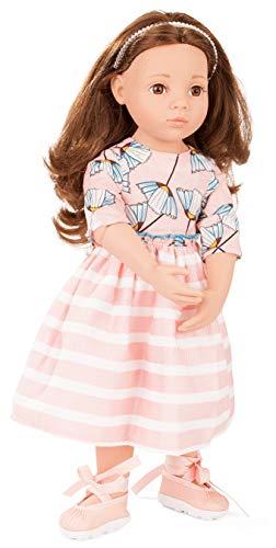 Götz 2066066 Happy Kidz Sophie Puppe - 50 cm große Multigelenk-Stehpuppe mit braunen Haaren und braunen Augen - 6-teiliges Set