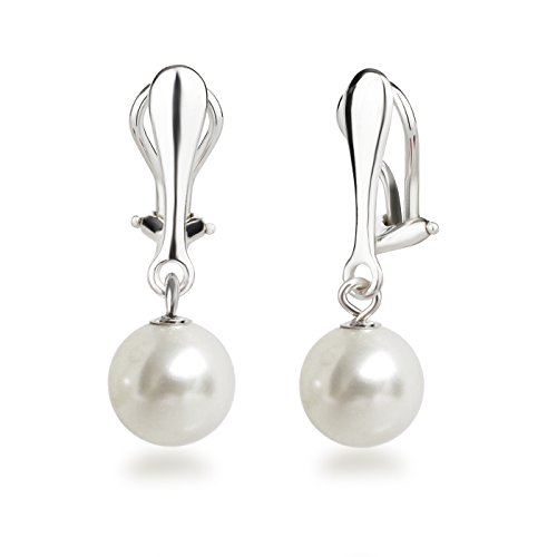 Schöner-SD Perlen Ohrclips Hänger Clip Ohrringe 925 Silber mit runden Perlen 10mm weiß