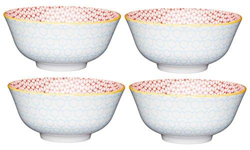 Kitchencraft à Pied Geometric-Patterned Bols, 15.5 cm (15,2 cm) (Lot de 4), en CÉRAMIQUE, Multi/Couleur, 15.5 x 15.5 x 7.5 cm