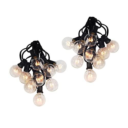MERIGLARE Luces de Cadena G40 de 2X 25 Pies con Bombillas de Globo Luz Colgante de Patio Impermeable