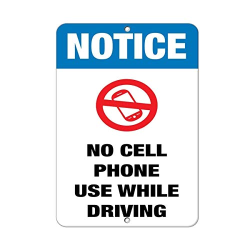 Letrero de decoración al aire libre, aviso de que no se usa el teléfono celular mientras se conduce 12X16 adentro, placa de letrero de reglas, carteles de metal, pintura de hierro, decoración de pared