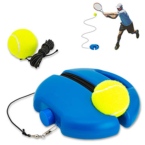 Tennis Trainer Rebound Ball, Solo Tennis Training Equipment for Self-Pracitce, Portable Tennis Training Tool, Tennis Rebounder Kit, Including 2 String Balls, Suitable for Beginners Sport Exercise