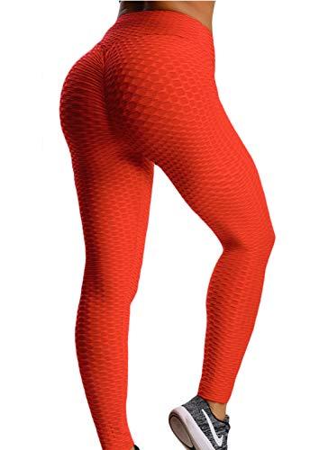 FITTOO Mallas Pantalones Deportivos Leggings Mujer Alta Cintura Transpirables Yoga Fitness Gran Elásticos Rojo ClaroSMALL