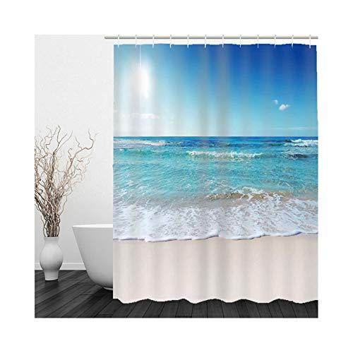 Cenliva Ecooe Duschvorhang, Badvorhang Dusche Blaues Khaki Duschvorhang Meerwasser Polyester