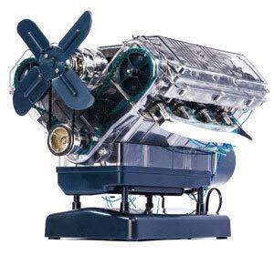 Monsterzeug V8 Motor Bausatz, Modell-Motor selber Bauen, 250-teiliges DIY Kit, transparentes Motorgehäuse, Kurbelwelle, ab 14 Jahren