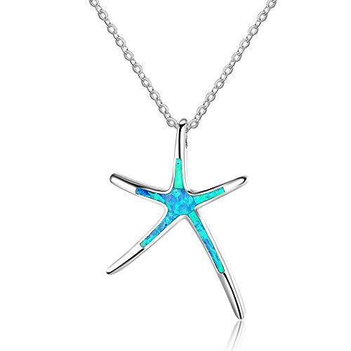 YAZILIND Opal 925 Sterling Silver Estrella de mar Colgante Collar de Moda Azul Gema clavícula Cadena día de San Valentín Regalo para Las niñas