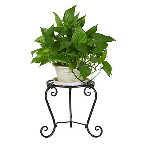 FZN Eisen-Blumengestell, kreativer Rahmen-Boden-Balkon-Blumen-Bett-Rahmen-Innenwohnzimmer Topf-Untersetzer (Farbe : SCHWARZ)