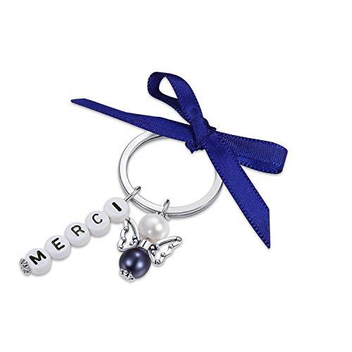 Lot de 15 porte-clés + pochette en organza pour cadeaux d'invités, mariage, baptême, Noël, anniversaire, communion, confirmation, cadeau pour les invités