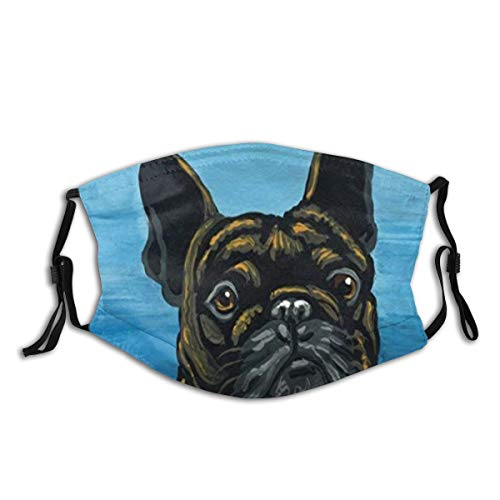 Face Cover French Bulldog Frenchie Pet Dog Art Balaclava Unisex Reusable Windproof Anti-Dust Mouth Bandanas Camping Motorcycle Running Neck Gaiter with 2 Filters for Teen Men Women